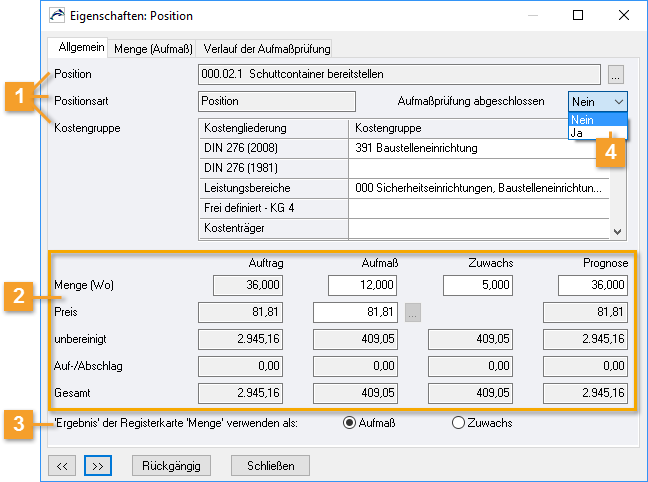 ORCA Helpdesk - ORCA AVA - Eigenschaften: Position/Allgemein
