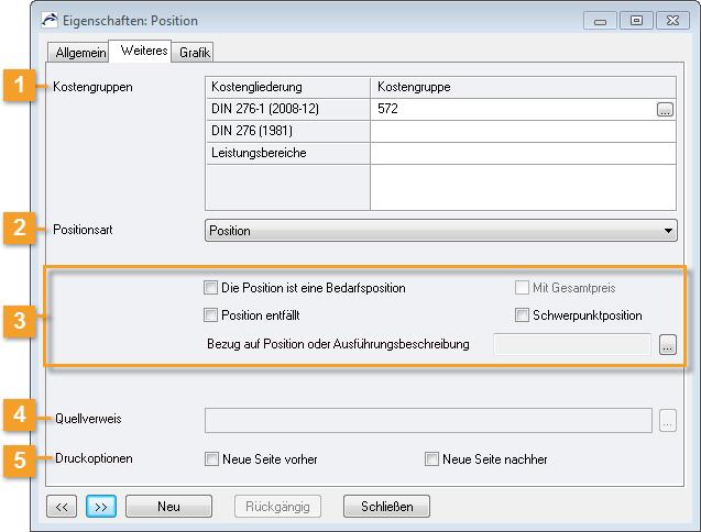 ORCA Helpdesk - ORCA AVA - Eigenschaften: Position/Weiteres